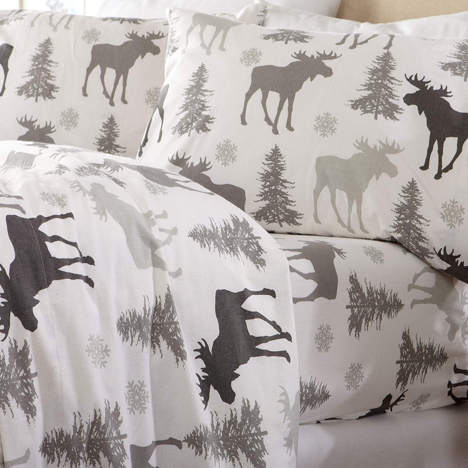Home Fashion Designs Flannel Sheets Extra Long Twin Winter Bed Sheets Flannel Sheet Set Moose Flannel Sheets 100% Turkish Cotton Flannel Sheet Set. Stratton Collection (Twin XL, Moose Set)