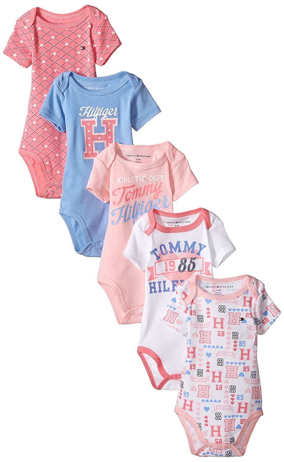 dd5b8ba99 Amazon.com: Tommy Hilfiger Baby Girls' Print and Solid Bodysuits (Pack of 5):  Clothing