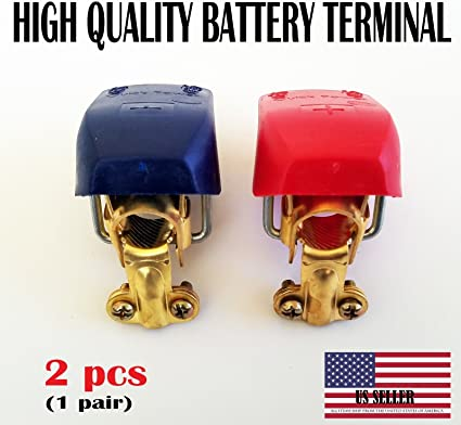 Rhinoco 4pcs Car Battery Terminals Clamps Quick Release Battery Terminal Connectors for Car Caravan Motorhome Terminal 2 Pair