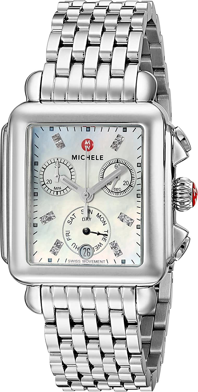 Michele Women's Deco Diamond Dial Stainless Steel Watch