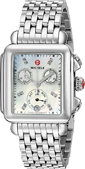 Michele Women's Deco Diamond Dial Stainless Steel Watch