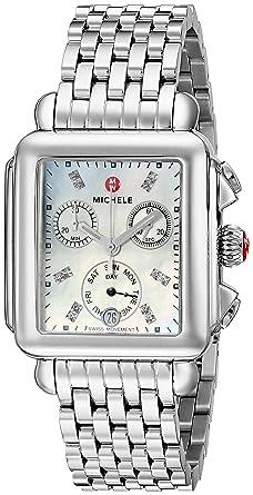 56c9c51c17ed MICHELE Women's MWW06P000014 Deco Analog Display Swiss Quartz Silver Watch