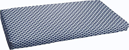 Humble and Haute Navy Chainlink Abstract Indoor Outdoor Bristol Bench Cushion 60 in w x 19 in d
