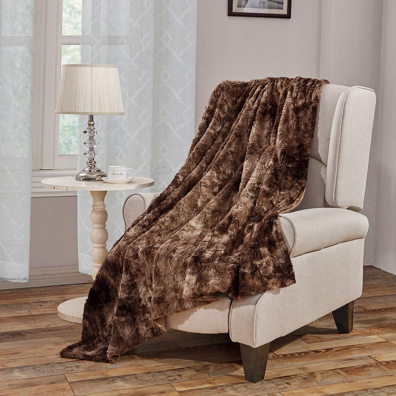 "Faux Fur Bed Blanket Soft Cozy Warm Fluffy Variation Print Minky Fleece Throw Blanket, Brown, 60""×80"""