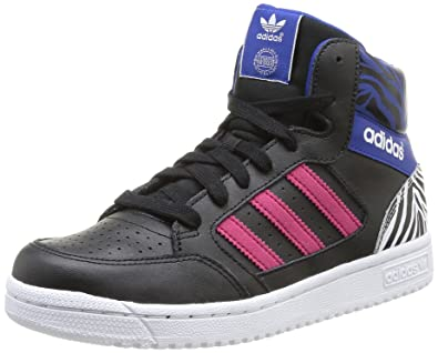 sports shoes 0979f 74f6f adidas Originals Boy s Pro Play K Core Black and Bold Pink Sneakers ...