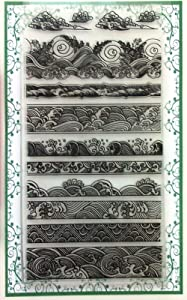 """Ocean Waves Borders Clear Stamps Set (4""""x7) Chinese Japan Vintage Retro Style"""