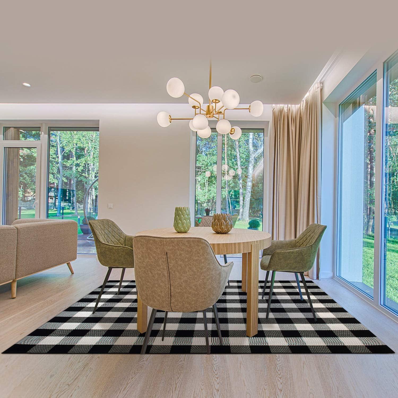 "NANTA Cotton Buffalo Plaid Rug 67"" x 90"" (5.5' x 7.5') Buffalo Check Rug Black and White Checkered Rug Carpet for Living Room/Dining Room/Bedroom"