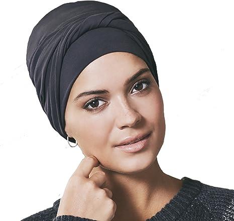 Gorro oncológico 100% algodón Edith con drapeado - negro arenoso ...