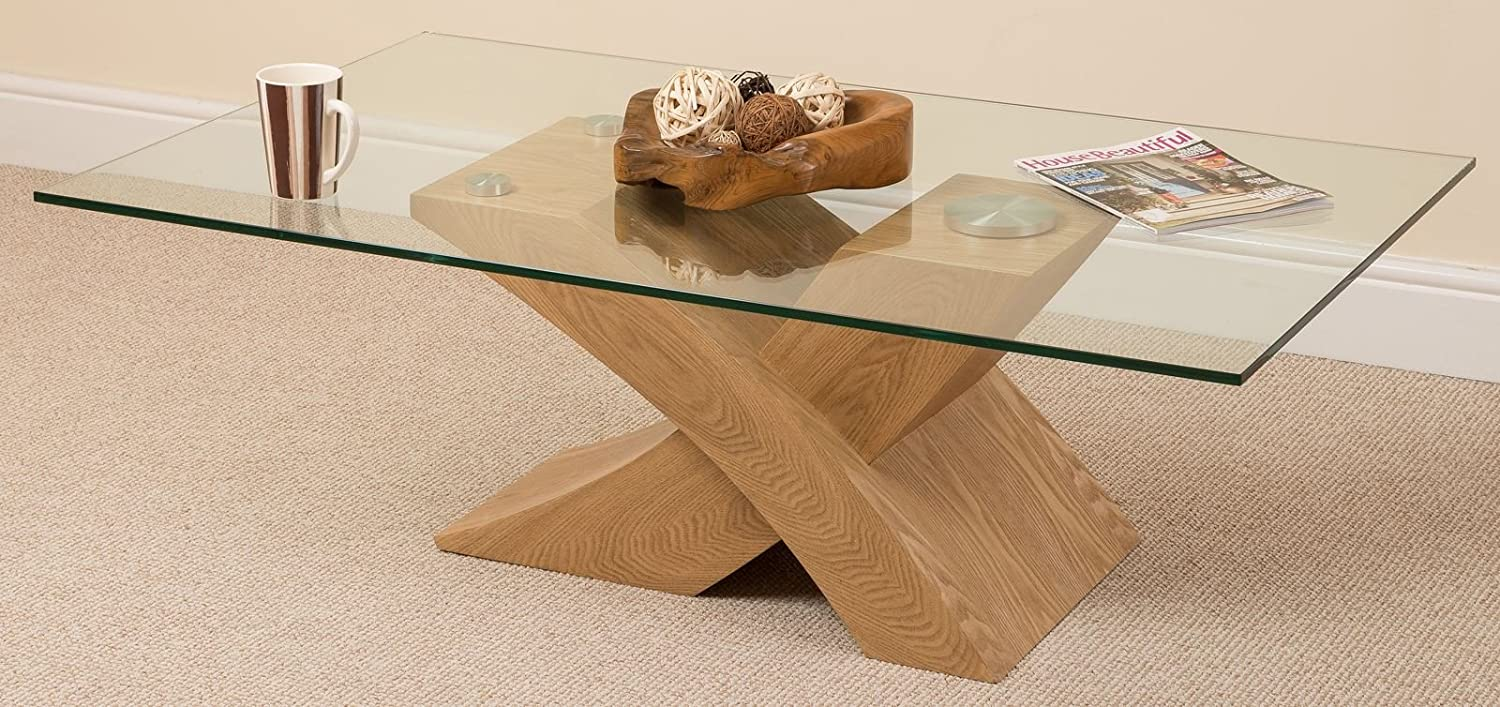 glass coffee table. Milano X Glass \u0026 Wood Coffee Table Oak, (135 W 80 D 45 H Cm): Amazon.co.uk: Kitchen Home