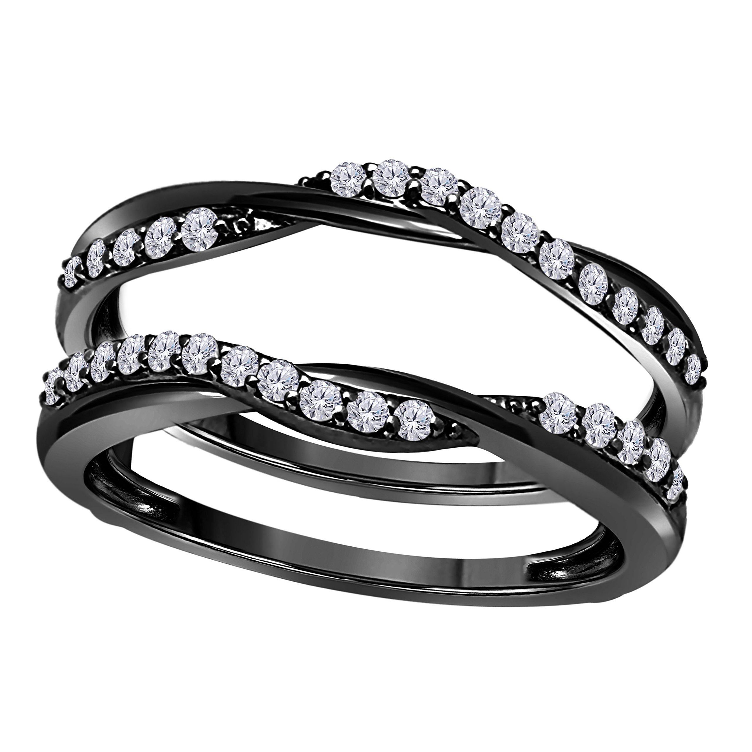 14K Black Gold Plated Delicate Bypass Infinity Style Vintage Wedding Ring Guard Enhancer with Cubic Zirconia (0.50 ct. tw.)