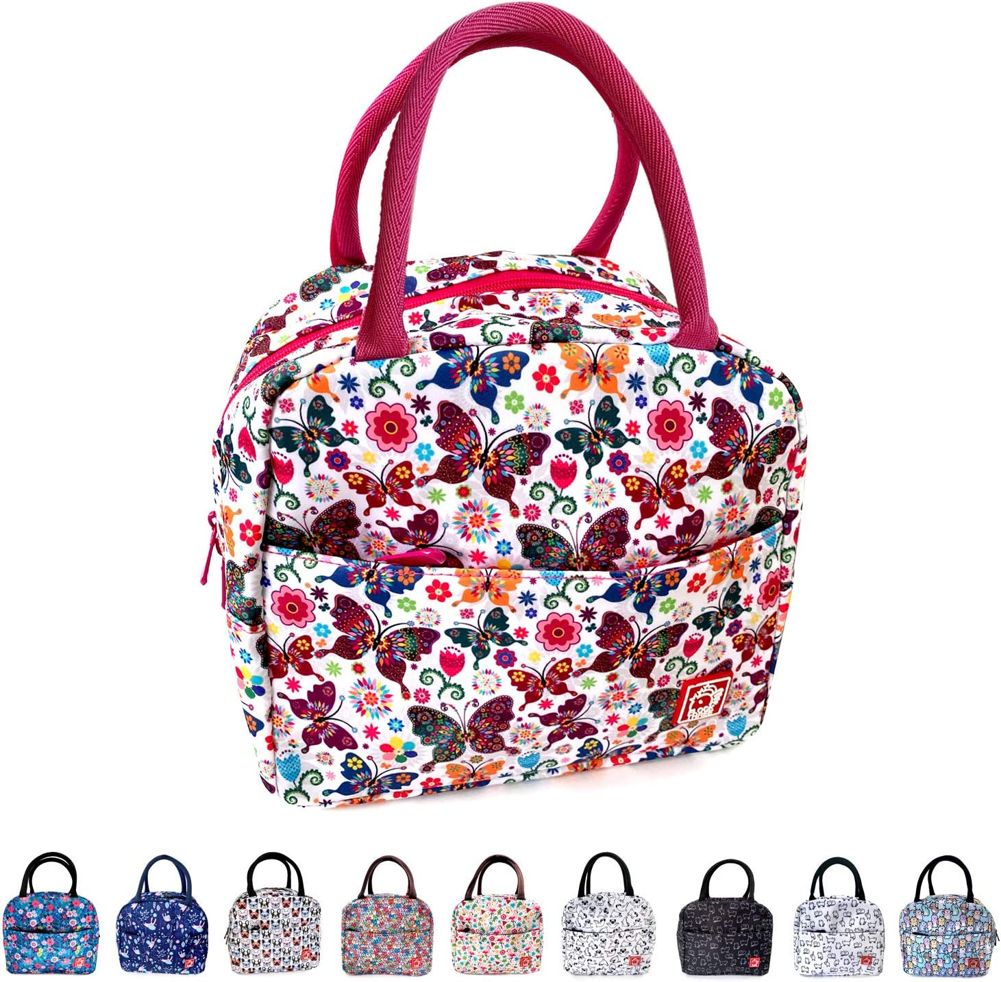 Waterproof Insulated Reusable Lunch Bag Food Drinks Container with Front Padded Pocket Double Zippers For Kids Men Women Work School Picnic Butterflies