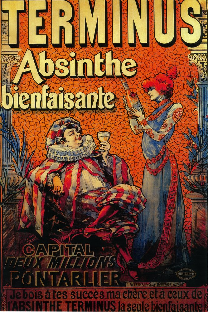 フランス – Terminus Absintheヴィンテージポスター 10 x 15 Wood Sign LANT-1984-10x15W B073676L5Q 10 x 15 Wood Sign10 x 15 Wood Sign