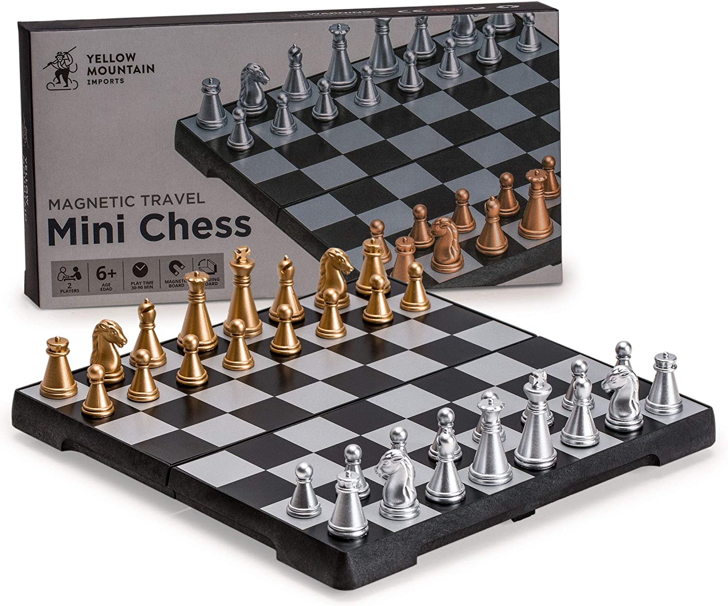 Yellow Mountain Imports Travel Magnetic Chess Mini-Set (6.3 Inches) - Compact, Folding, Educational Board Game