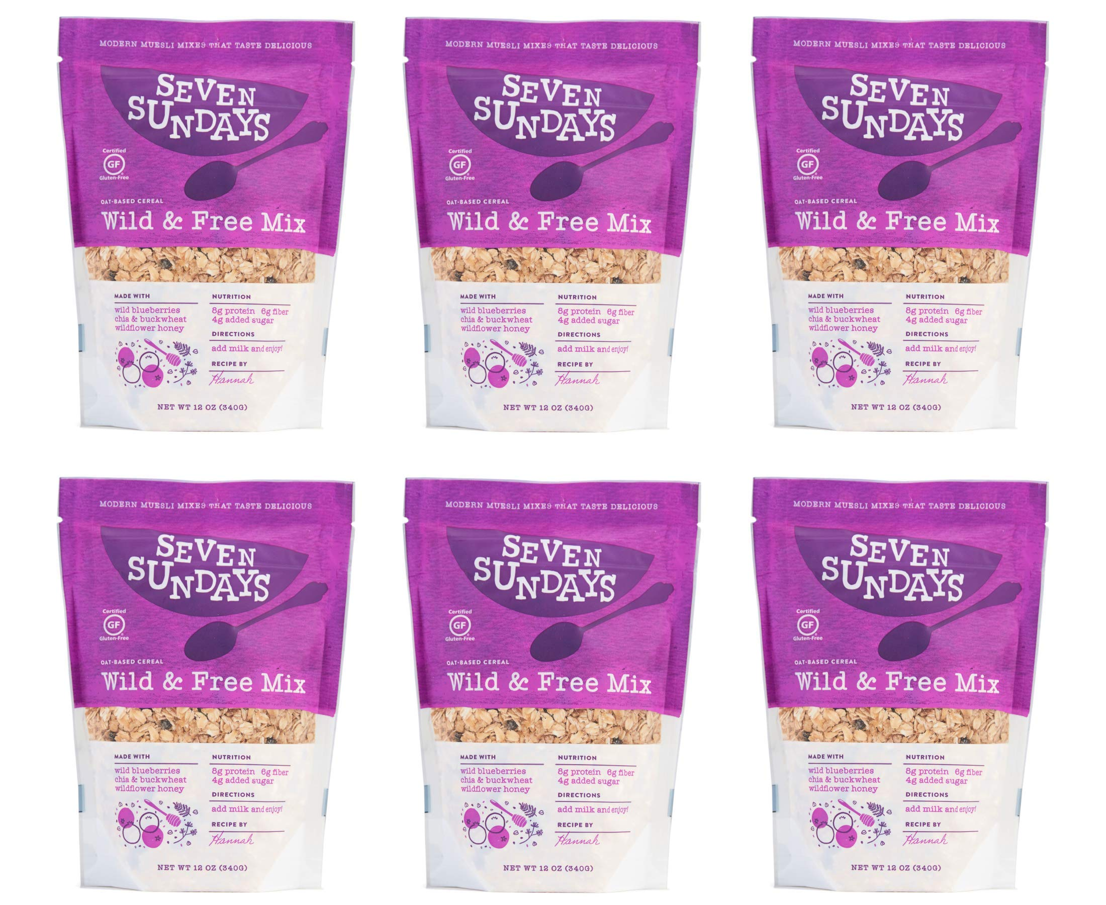 Seven Sundays Wild & Free Blueberry Chia Muesli Cereal {12 oz. pouches, 6 Count} | Gluten Free Certified | Non GMO | No Refined Sugar | Kosher by Seven Sundays