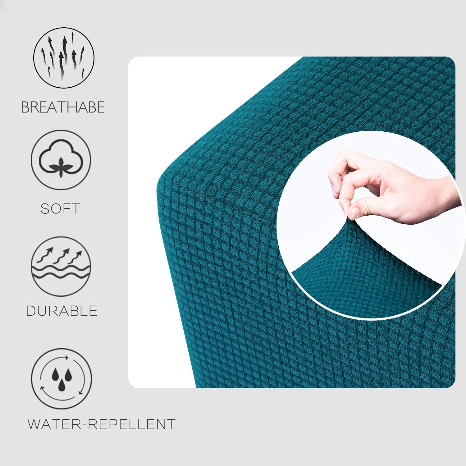 Granbest Premium Water Repellent Ottoman Cover High Stretch Rectangle Folding Storage Stool Ottoman Slipcovers Ottoman Oversized, Blackish Green