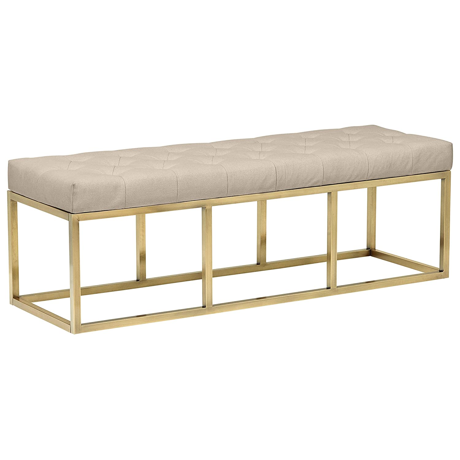 Rivet Glam Tufted Seat Upholstered Bench with Gold Legs , 58 L, Gold Finish