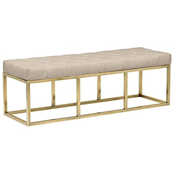 Admirable Rivet Glam Tufted Seat Upholstered Bench With Gold Legs 58L Gold Finish Ibusinesslaw Wood Chair Design Ideas Ibusinesslaworg