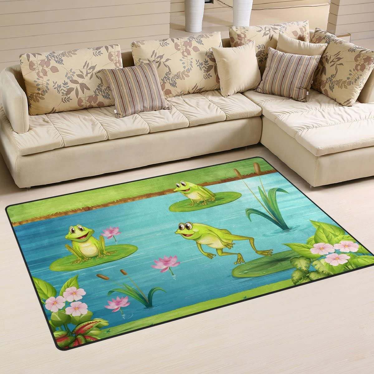 WOZO Vintage Frog Water Lily Area Rug Rugs Non-Slip Floor Mat Doormats Living Dining Room Bedroom Dorm 60 x 39 inches inches Home Decor