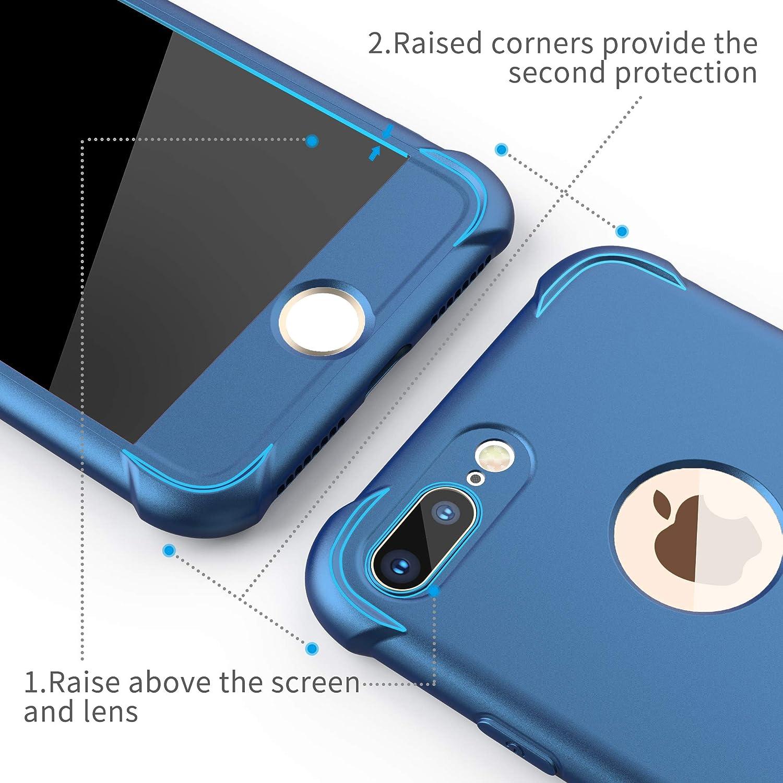 TPU Silicone Anti-Graffio per iPhone 7//8 Cover -Blu Scuro con Cover iPhone 8 2 x Pellicola Protettiva Vetro Temperato Cover iPhone 7 ORETech 2 in 1 Custodia iPhone 7//8 Ultra Sottile Hard PC