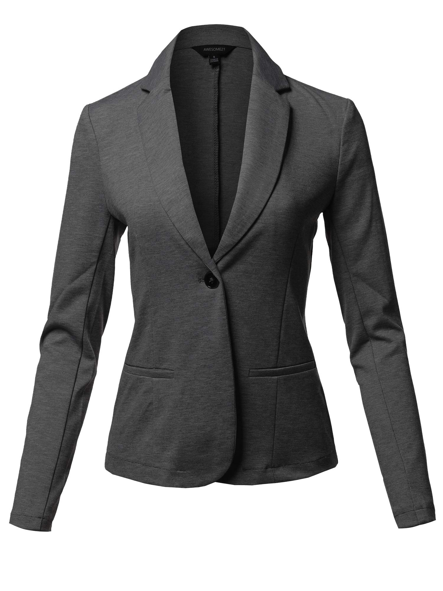 Awesome21 Solid Formal Single Button up Long Sleeve Blazer Jacket Heather Charcoal Size L