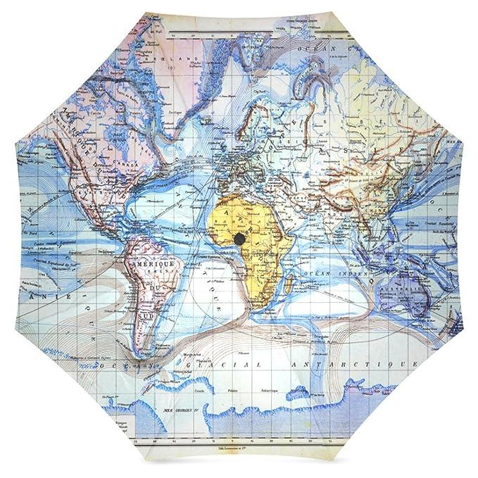 interestprint Vintage mapa del mundo azul plegable de viaje, lluvia paraguas