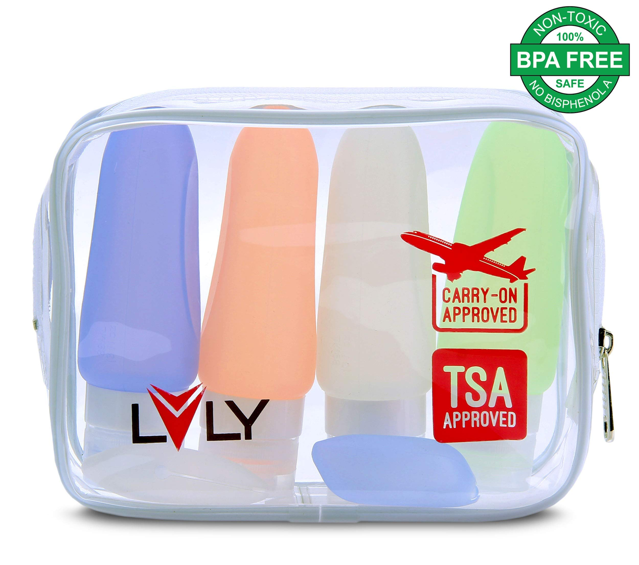 Travel Bottles & Travel Size Containers for Toiletries - TSA Approved Leak Proof 3oz Silicone Travel Bottle x4 + Clear Toiletry Bag by LVLY