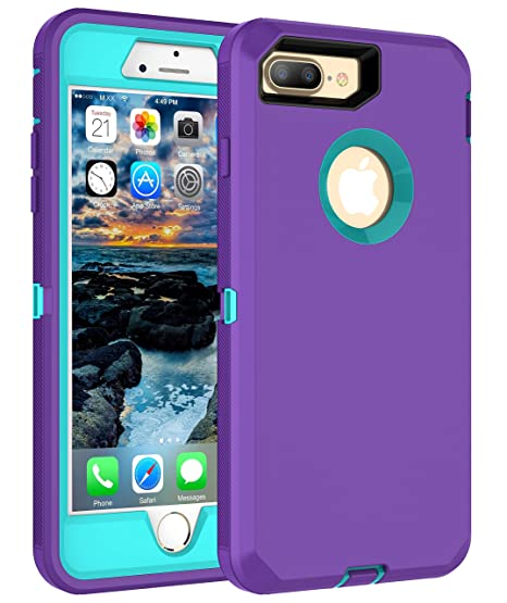 new styles ed859 19f70 MXX iPhone 8 Plus Case   7+   6+  Heavy Duty Case with Screen Protector [4  Layers] Rugged Rubber Shockproof Protection Case Cover for Apple iPhone 7  ...