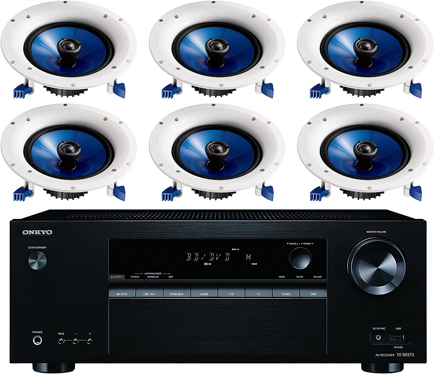 Onkyo 5.2 Channel Full 4K Bluetooth AV Home Theater Receiver + Yamaha Natural High-Performance Moisture Resistant 2-Way 110 watts Surround Sound in-Ceiling Speaker System (Set of 6)