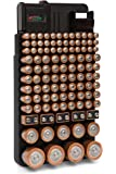 Bee Neat 110 Battery Organizer Storage Case with Removable Battery Tester. New and Improved Design Holds 110 Large and Small Batteries of Various Sizes, Hanging on Wall or in a Drawer.