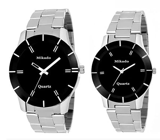 Mikado Analogue Black Dial Men's & Women's Couple Watch - 65 COUPLE CHAIN