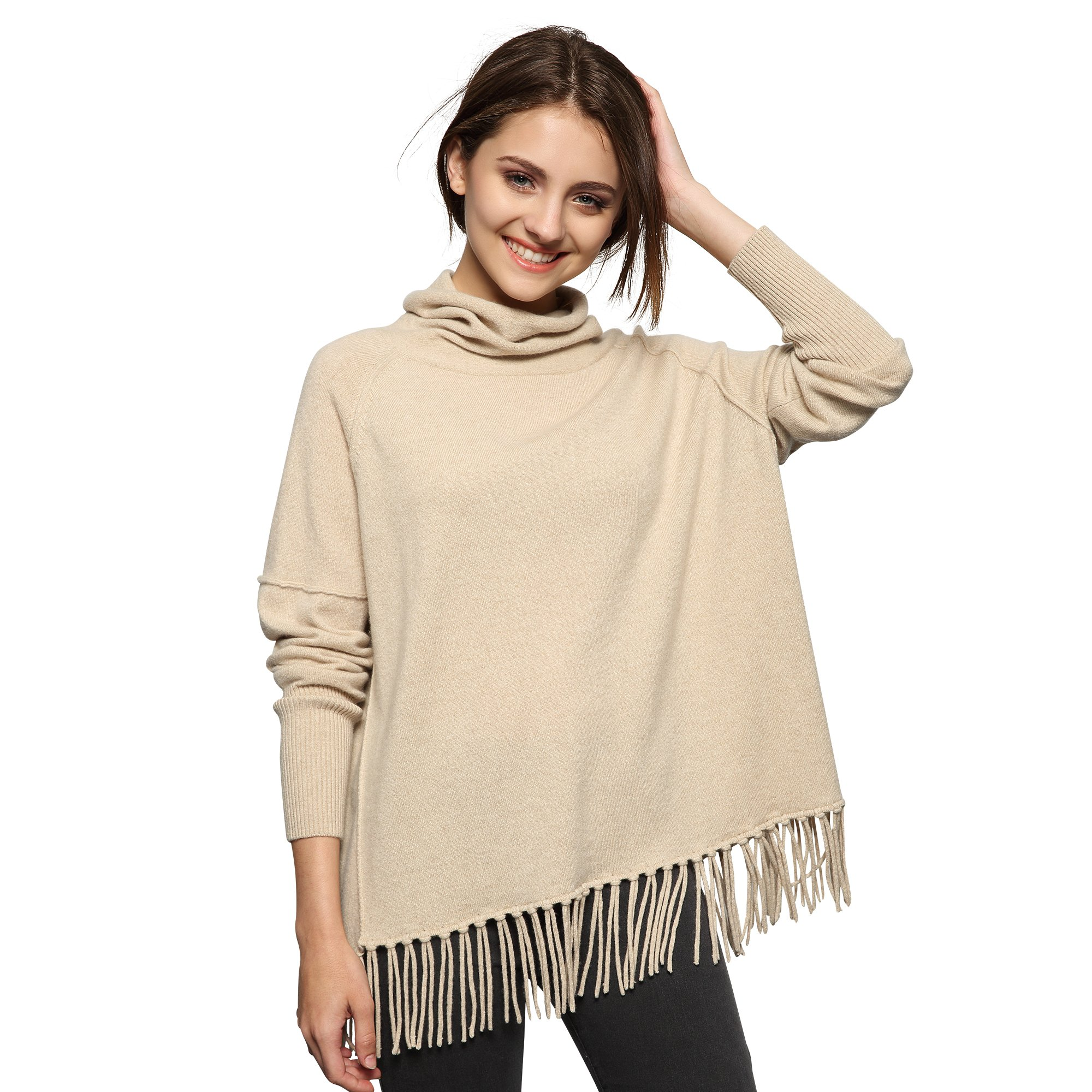 Chesslyre Loose Womens Cashmere Sweaters Plus Size, Relaxed Fit High Neck Ladies Cashmere Sweaters