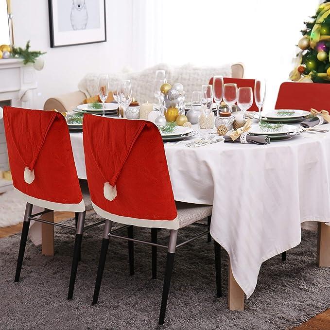 Kompanion 10 Fundas para Silla de Comedor de Navidad - Cubiertas de Gorro de Santa Claus - Articulo de Decoración de Mesa para Celebración Navidad ...