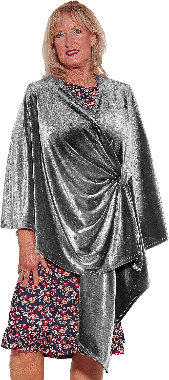 Adaptive Clothing for Senior Women Ovidis Elderly Disabled Adaptive Shawl Velvety Silver