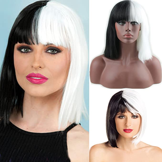 Style A TANTAKO/® Women Synthetic Half Black Half White Cosplay Short Bob Wig for Halloween Carnival And Party Fancy Dress