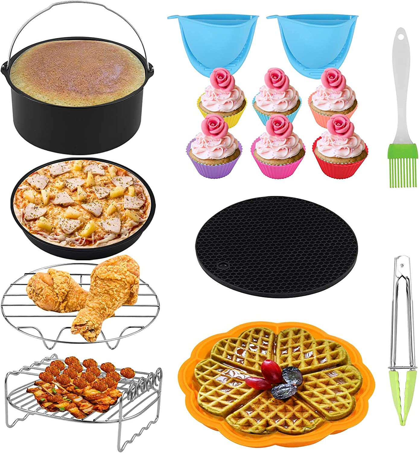 COLFULINE Air Fryer Accessories 11Sets 7 Inch, Air Fryer Basket Baking Pan,for Phillips, Gowise Universal XL Power Air Fryer Accessory Kit fit All 3.2QT-7.2QT