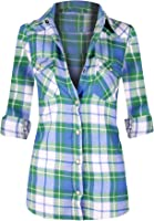 Women's Classic Collar Button Down Roll Up Long Sleeve Plaid Flannel Shirt