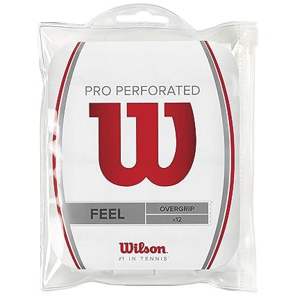 Wilson Pro Overgrip Perforated Empuñadura, 12 unidades, unisex, blanco