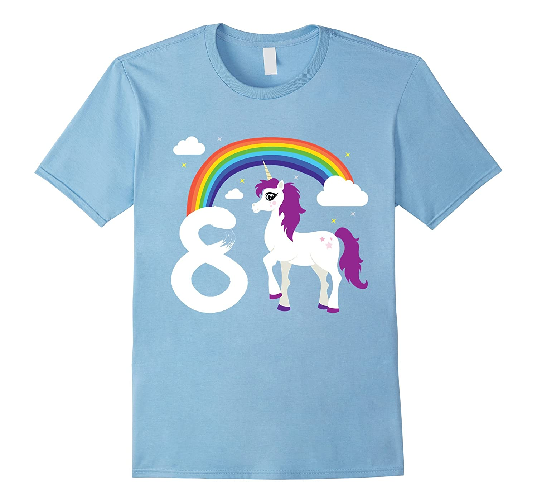 8th Birthday Girl Unicorn Rainbow Cloud Party T Shirt Gift CL