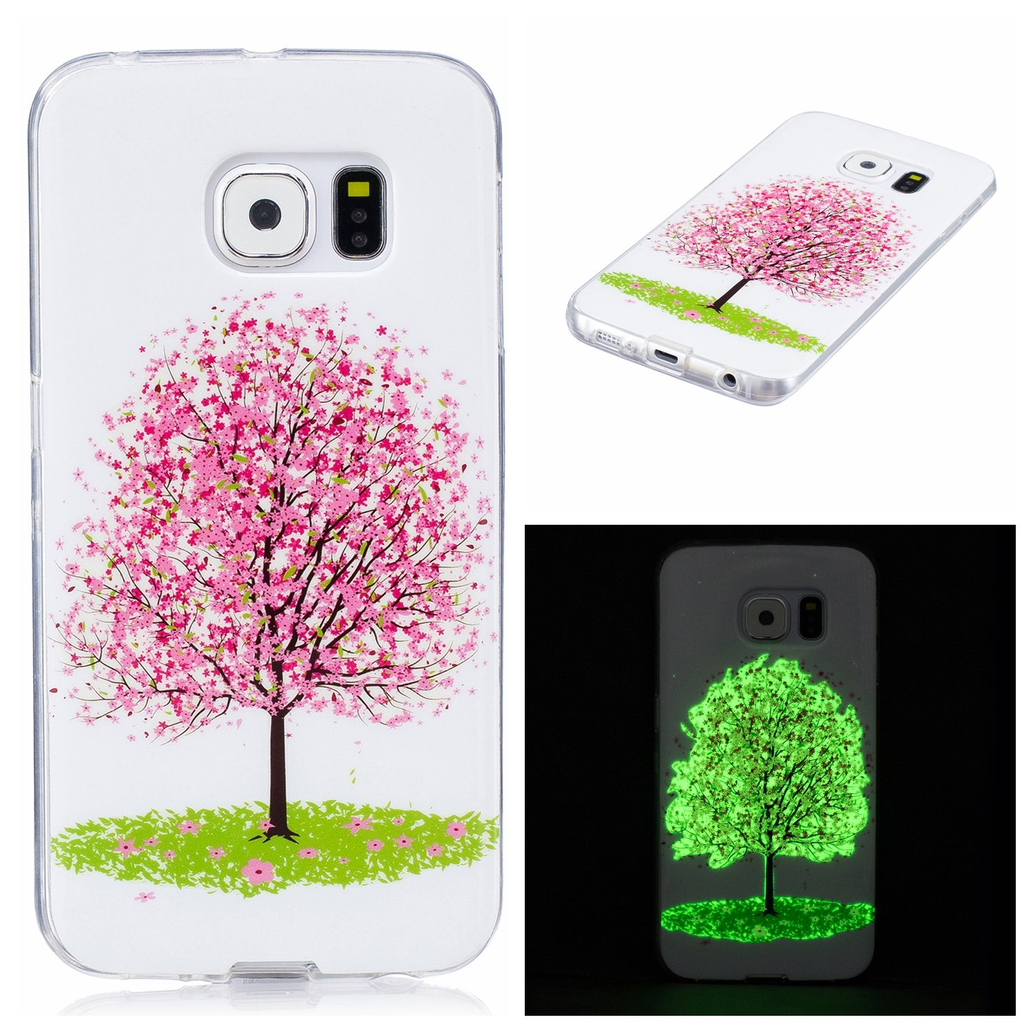Galaxy S6 Edge Luminous Case, BONROY® Fluorescent Effect Night Glow In The Dark Transparent Ultra-Thin Soft Gel TPU Silicone Bumper Case Stylish Unique Colourful Printed Pattern Design Anti-Scratch Shock Absorption Protective Case Cover for Samsung Gal