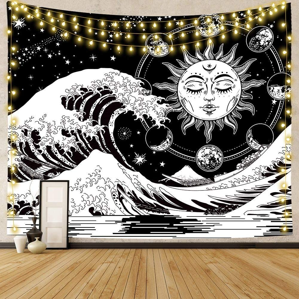 PuzCub Psychedelic Black and White Indian Tapestry Sun Wave Tapestry Burning Sun with The Great Wave of Kanagawa Tapestry Wall Hanging for Bedroom Living Room Dining Room Décor
