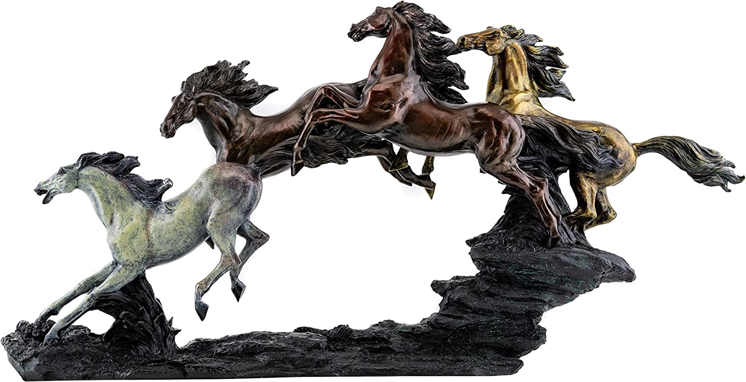 Top Collection Galloping Wild Stallions Statue - Large Masterpiece Horse Sculpture in Premium Cold Cast Bronze- 26-Inch Long Collectible Museum Grade Mustang Figurine