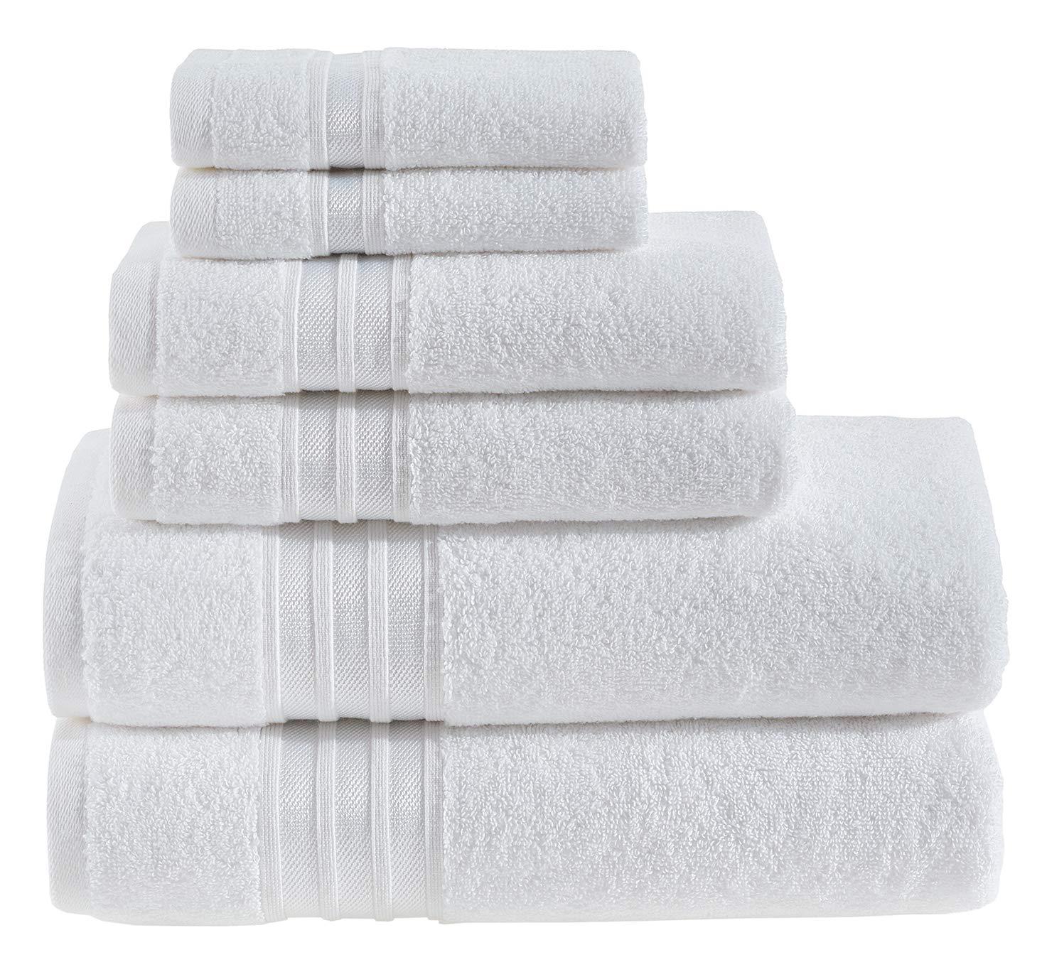 Hammam Linen Luxury White Bath Towel Set - Combed Cotton Hotel Quality Absorbent- 6 Pieces Towel Set - 100% Cotton Towels - 2 Large Bath Towels 27x54, 2 Hand Towels 16x28, 2 Wash Cloths 12x12