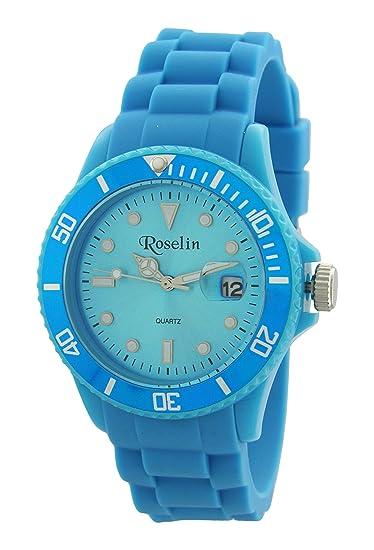 Roselin Beach, correa silicona azul, caja policarbonato, calendario,5 ATM. Bolsa hermética de regalo: Amazon.es: Relojes