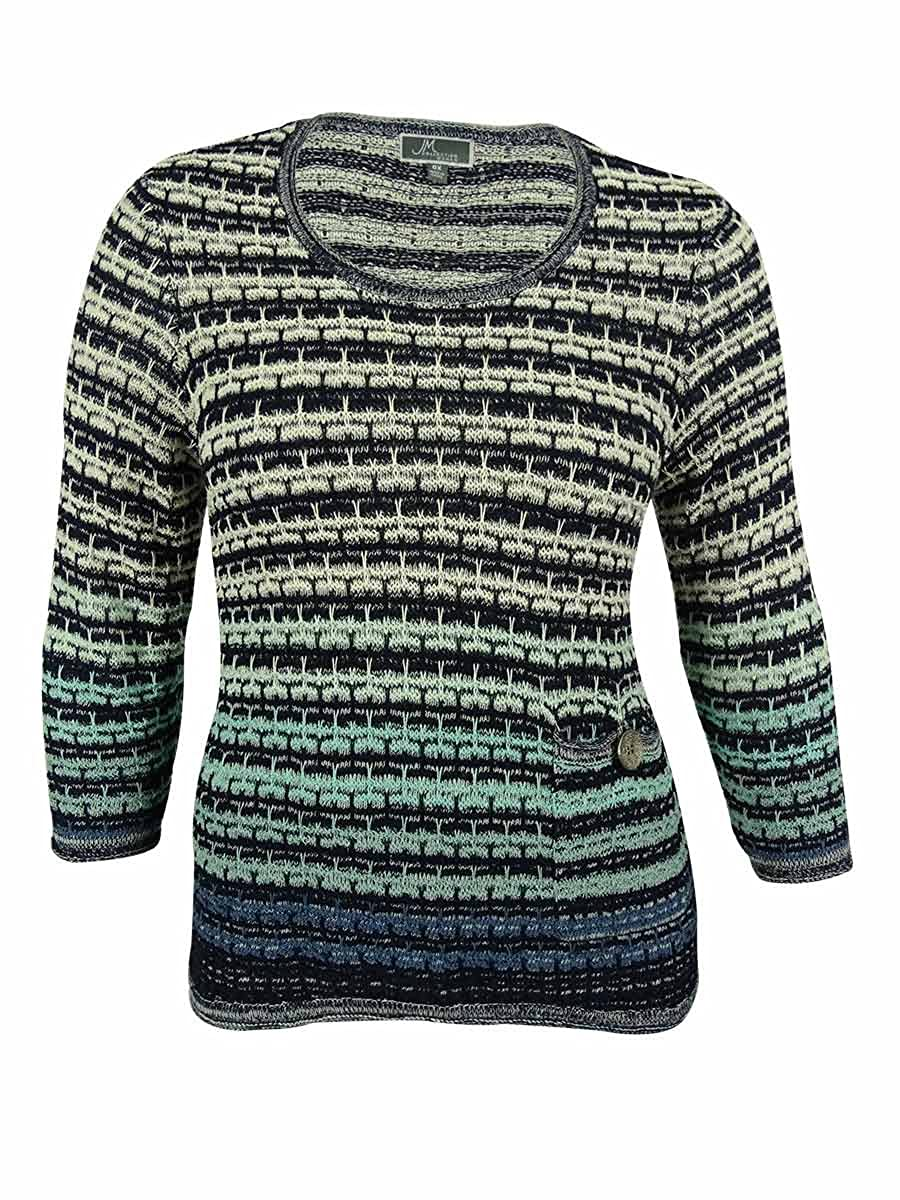JM Collection Womens Striped Textured Sweater