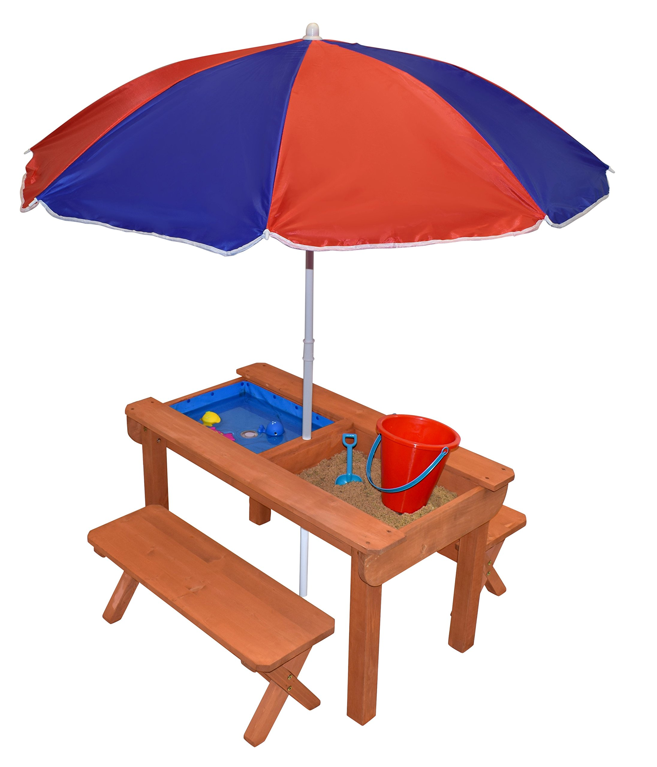 Back Bay Play Kid's Premium Sand and Water Convertible Picnic Table with Bench Seats and Umbrella All In One (Natural)