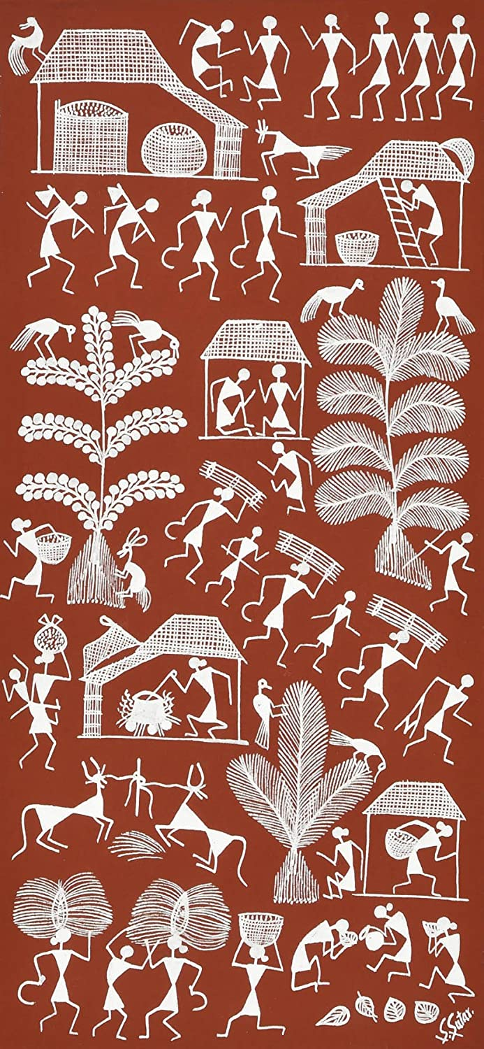 Exotic India Scene From Tribal Village Warli Painting On Cotton Fabric Folk Art Of The Warli Tri Amazon In Home Kitchen
