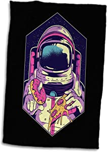 3dRose Sven Herkenrath Fantasy - Illustration Design with Astronaut and Pizza Food Sweet - 15x22 Hand Towel (twl_306912_1)