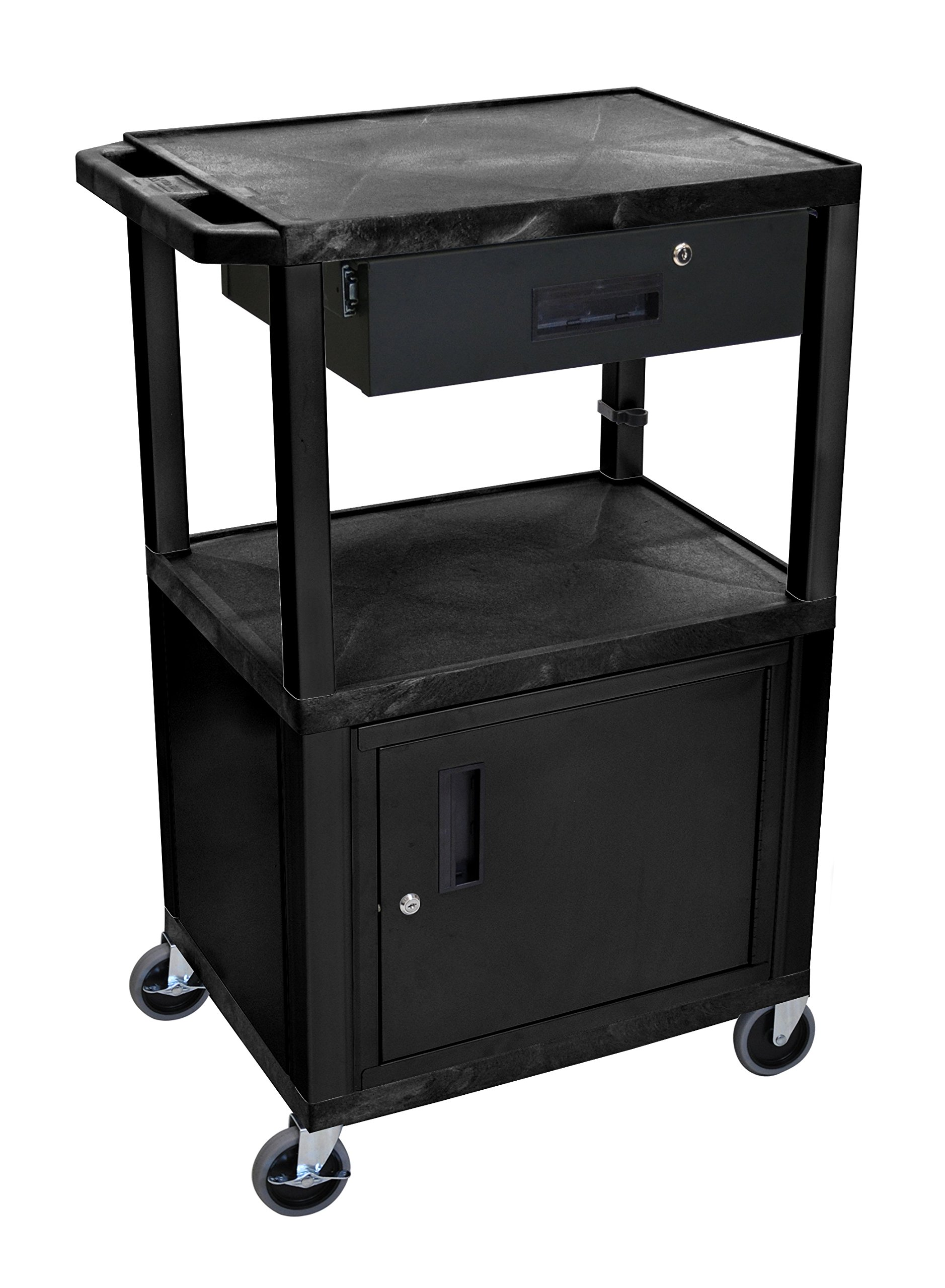 Wilson Tuffy Utility Cart with Locking Cabinet - 300-Lb. Capacity, 42in.H, Black, Model# WT42C2E-B/WTD