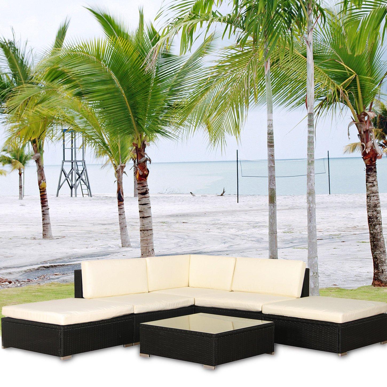 Malibu Poly Rattan Lounge Aluminium Schwarz Sofa Garnitur Polyrattan