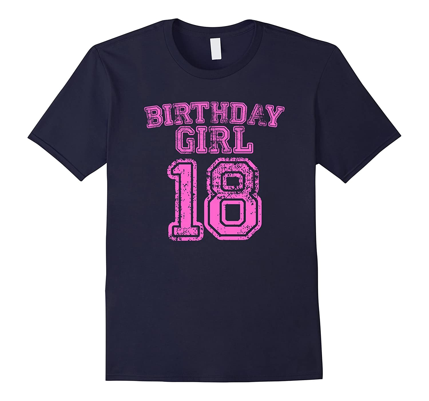 18th Birthday Sports Jersey T Shirt - 18 Year Old Girl Pink-CL